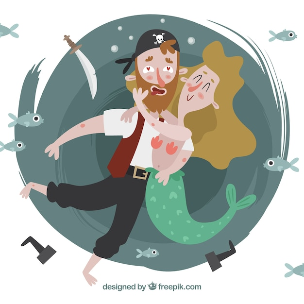 Background of nice pirate in love hugging a\ mermaid