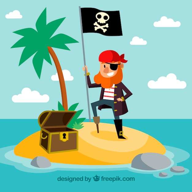 Background of nice pirate on an island