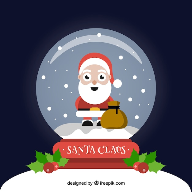 Background of nice santa claus inside snowglobe
