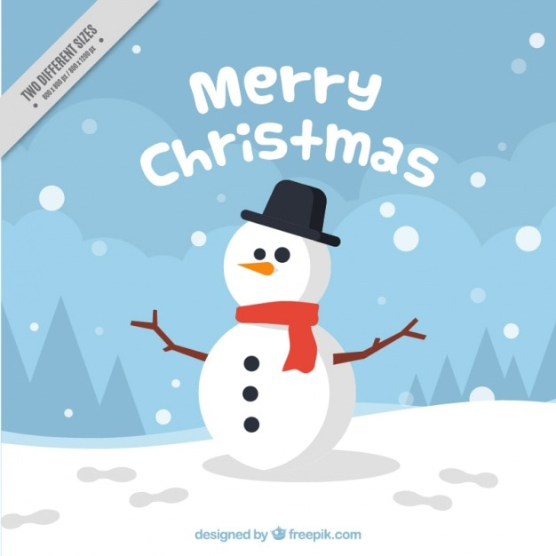 Background of nice snowman Free Vector
