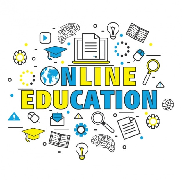 Background of online education with color details Premium Vector