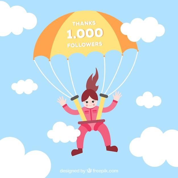 Background of parachute girl celebrating 1k followers