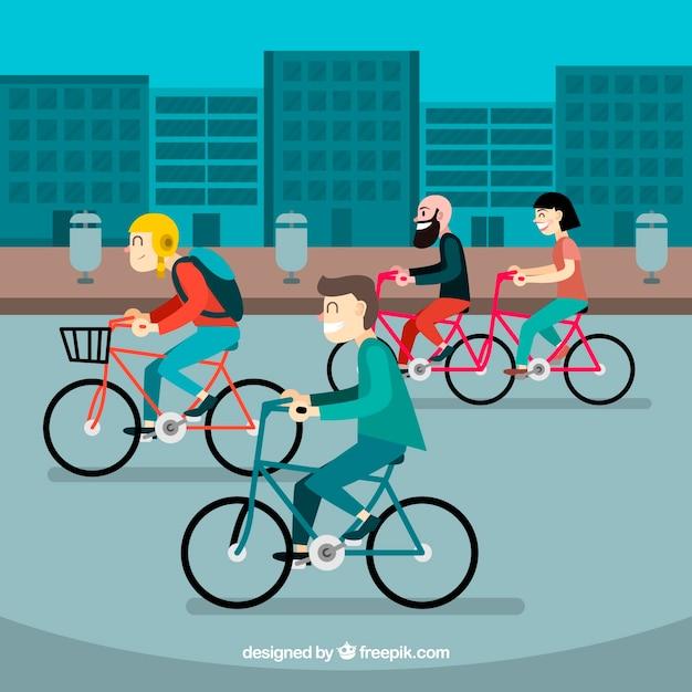 都市でサイクリングする人々の背景 無料ベクター