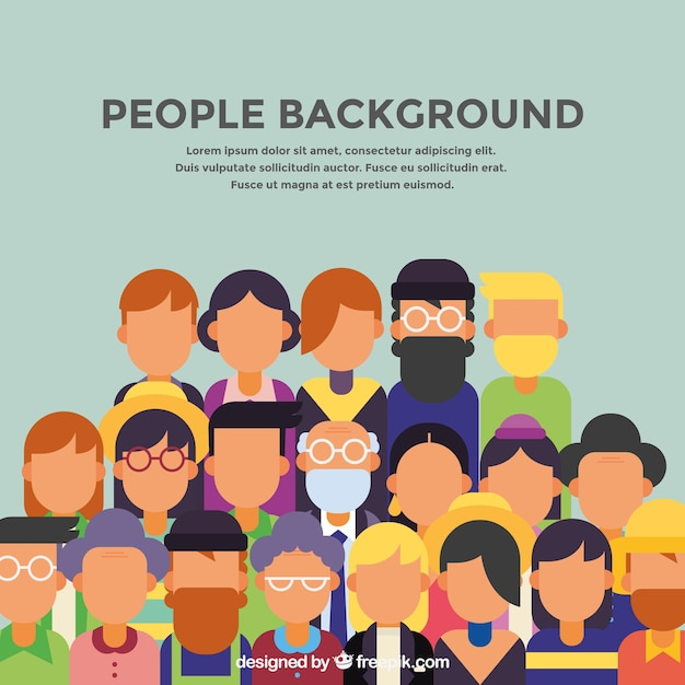 Background of people in flat design Free Vector