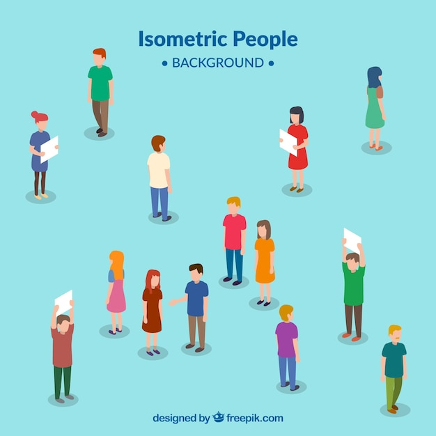 Background of people in isometric perspective Free Vector
