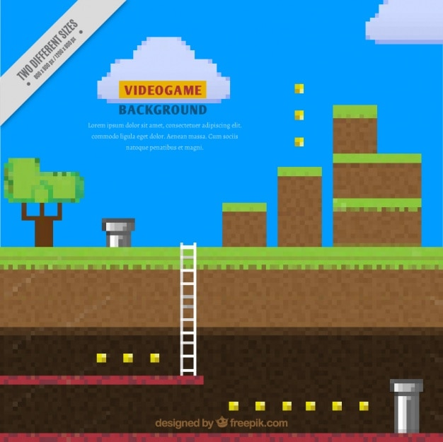 Background Of Pixelated Video Game Vector