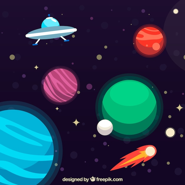 background of planets with ufo vector free download