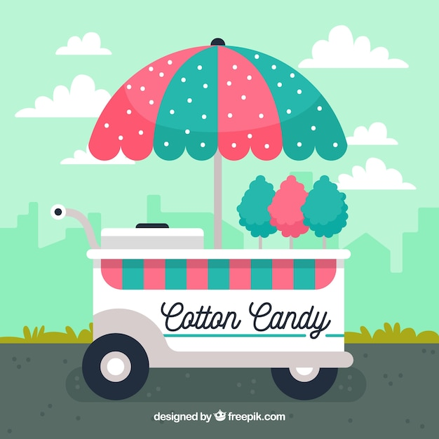 Background of pretty cotton candy cart in flat design