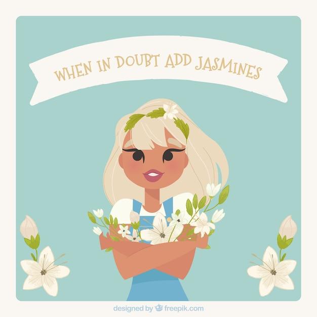 Background of pretty girl with jasmine