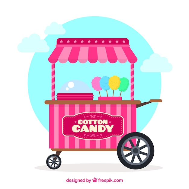 Background of pretty pink cotton candy cart