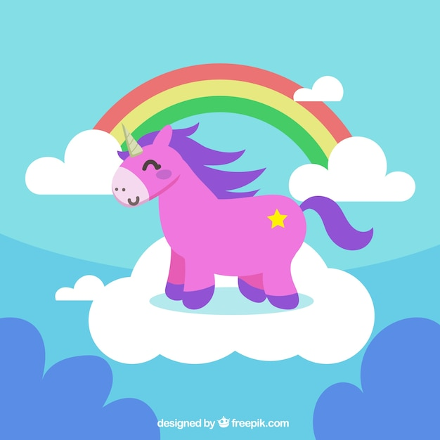 Background of rainbows and clouds with pink unicorn