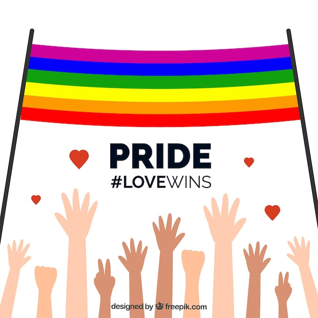 Background of raised hands with pride day flag