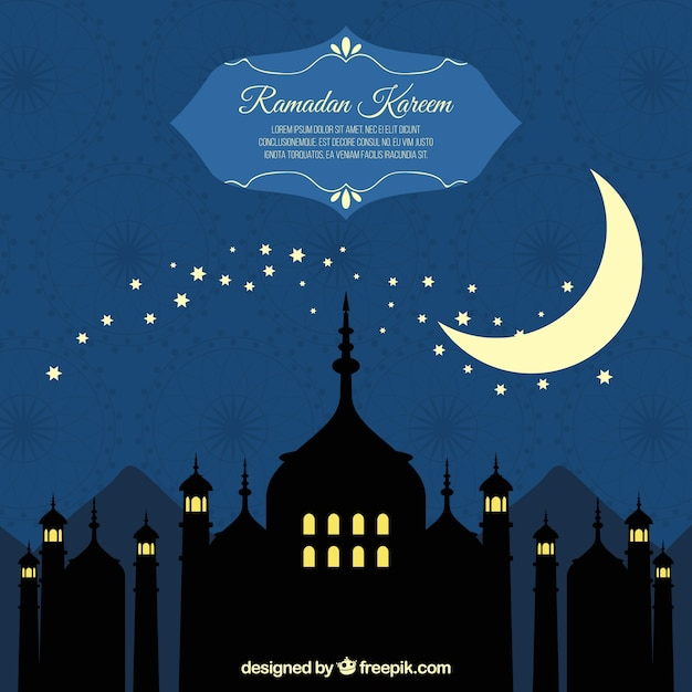 Background of ramadan silhouettes with moon Free Vector