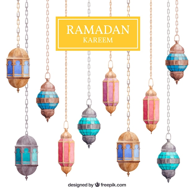background-of-ramadan-with-colorful-lamps_23-2147815722.jpg (626×626)