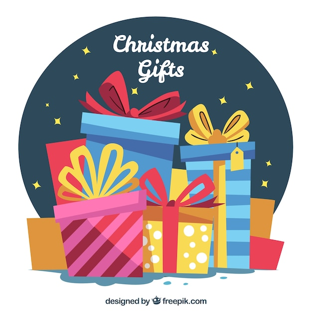 Background of retro boxes of christmas gifts Free Vector