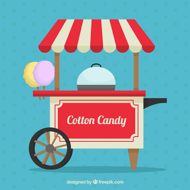 Background of retro cotton candy cart in flat design