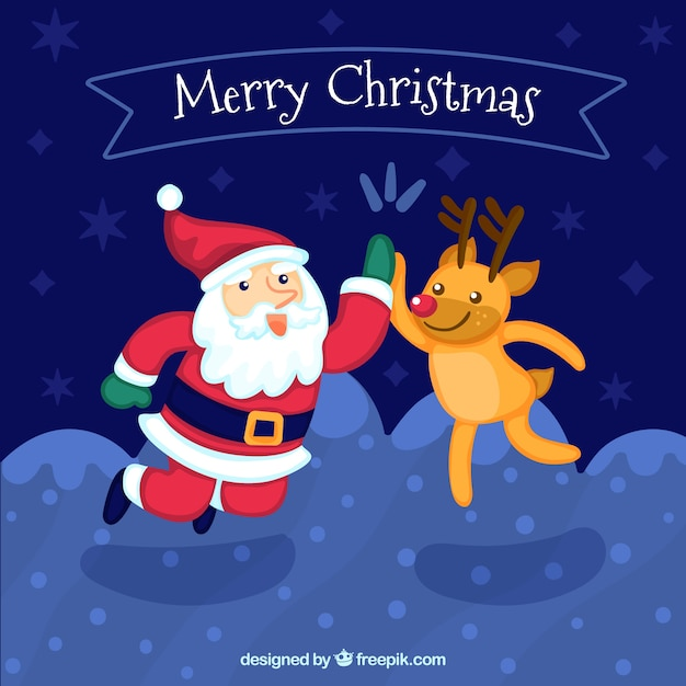 Background of santa claus and reindeer hitting five Vector ...