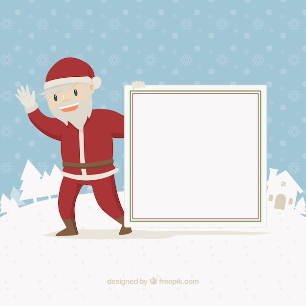 Background of santa claus greeting with card