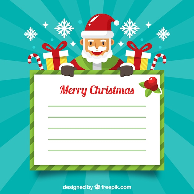 Background of santa claus with letter and gifts