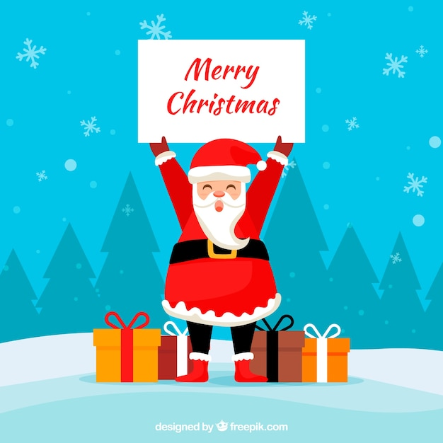 Background of santa claus with poster and gifts