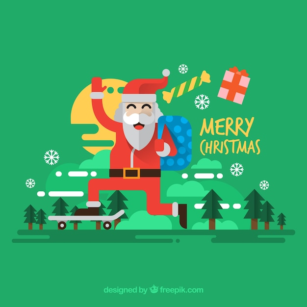Background of santa claus with skateboard in\ flat design