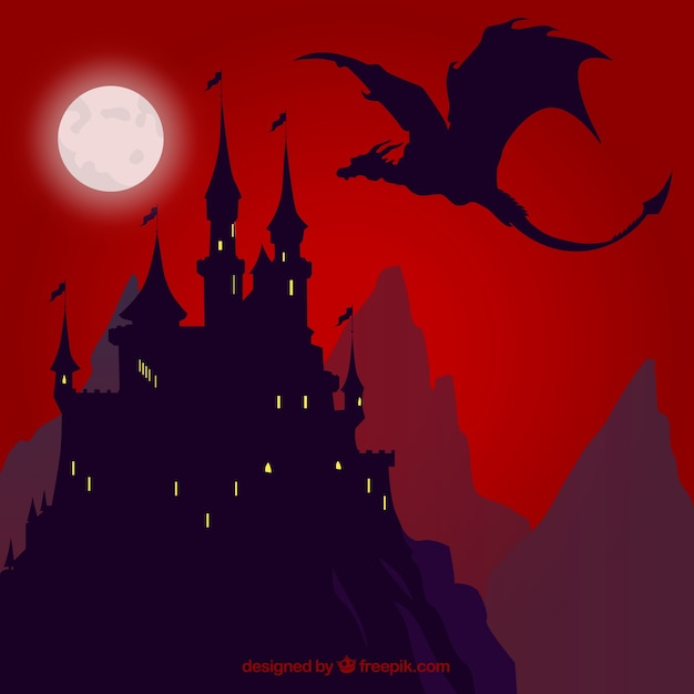 Background of silhouette castle with dragon\ flying