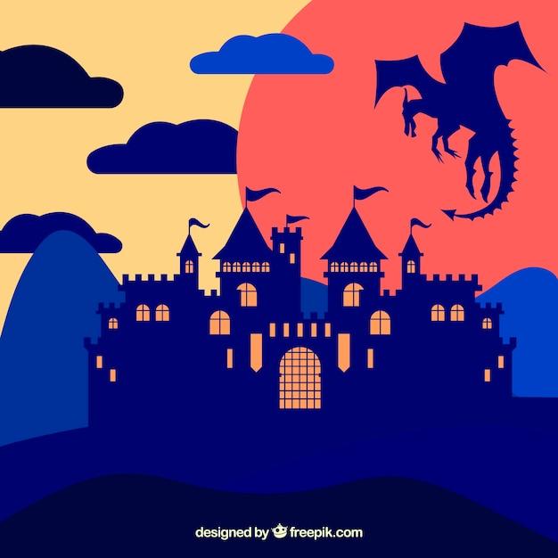 Фон силуэт замок с драконом летать Бесплатные векторы