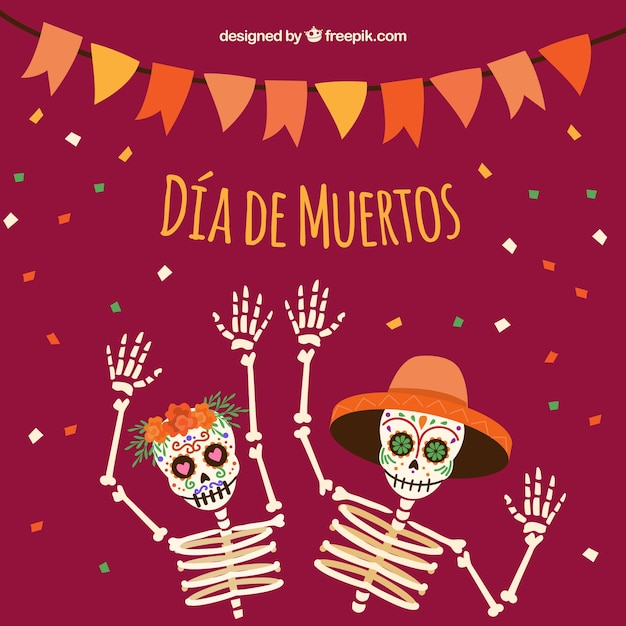 Background of skeletons celebrating the day of the dead