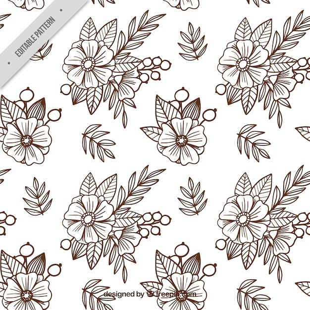 Background of sketches of flowers in batik style Free Vector