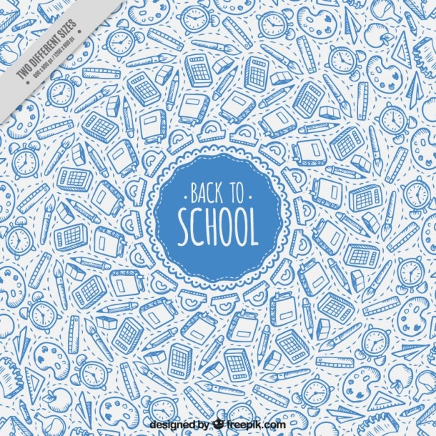 Background of sketches school supplies in blue color