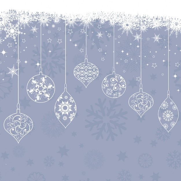 Background Of Snowflakes And Vintage Christmas Balls Free Vector
