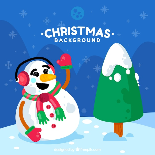 Background of snowman with christmas tree
