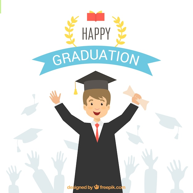 background of student celebrating his graduation vector