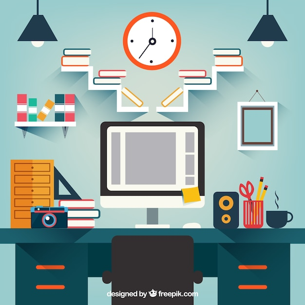 Background of studio room in flat design vector free for Room design vector