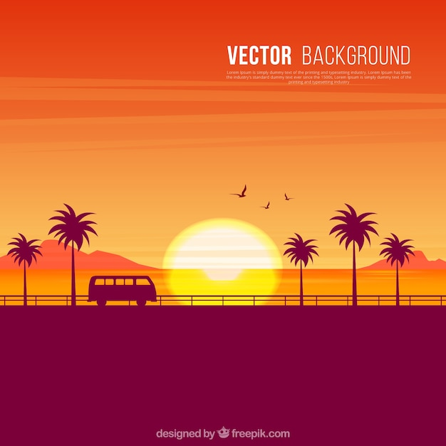 Background Of Sunset Silhouettes On The Beach