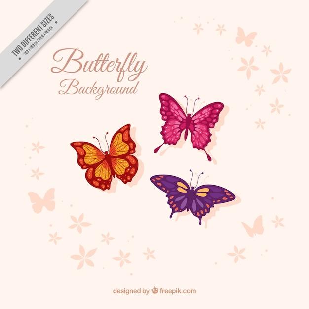 3美しい蝶の背景 無料ベクター