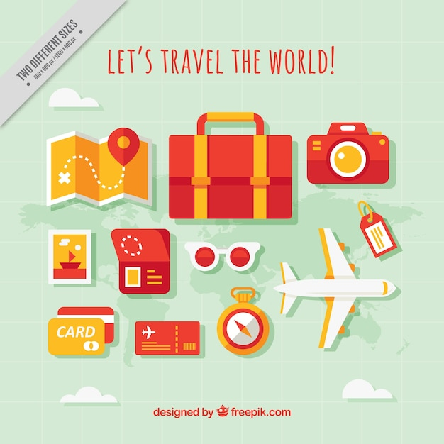 Background of travel elements and plane in flat design for Design a plane online
