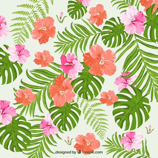Background of tropical flowers and watercolor\ leaves