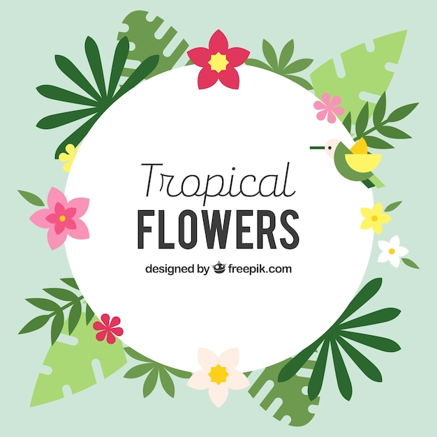 Background of tropical flowers in flat\ design