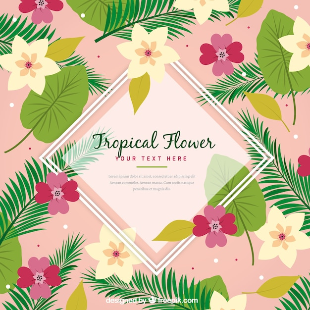 Background of tropical flowers with\ leaves