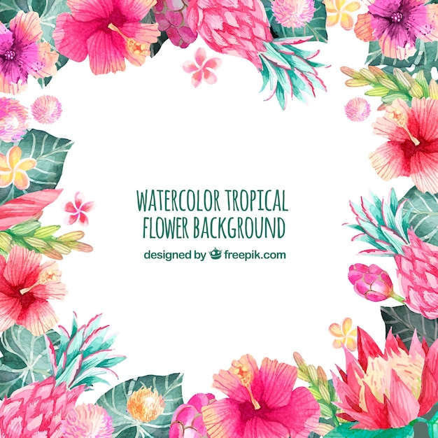 Background of tropical watercolor flowers Free Vector
