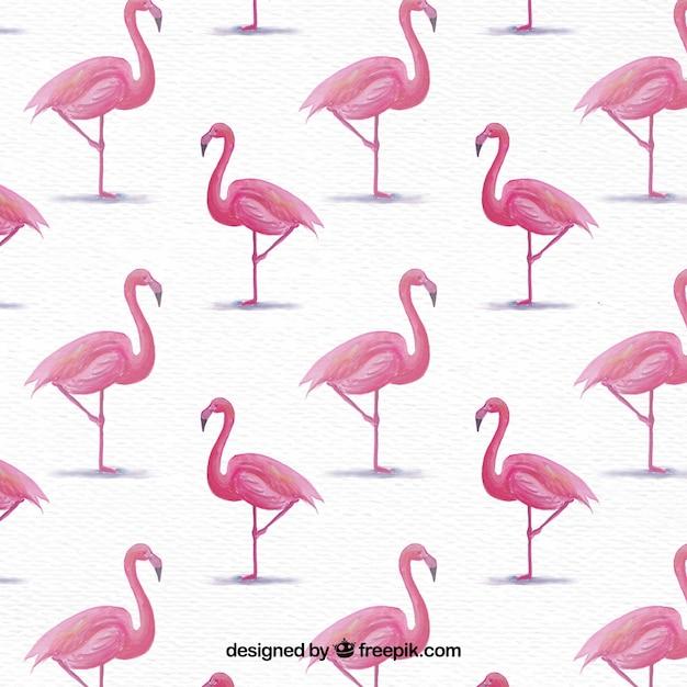 Background of watercolor flamingos Free Vector
