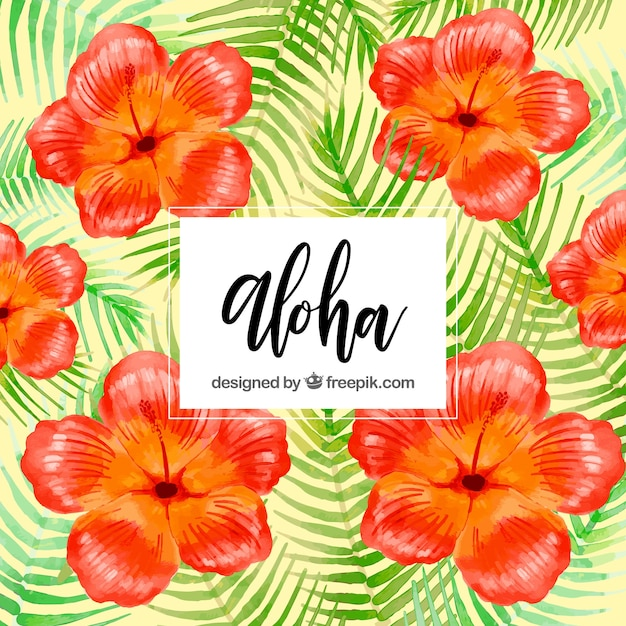 Background of watercolor flowers with leaves of\ palm trees
