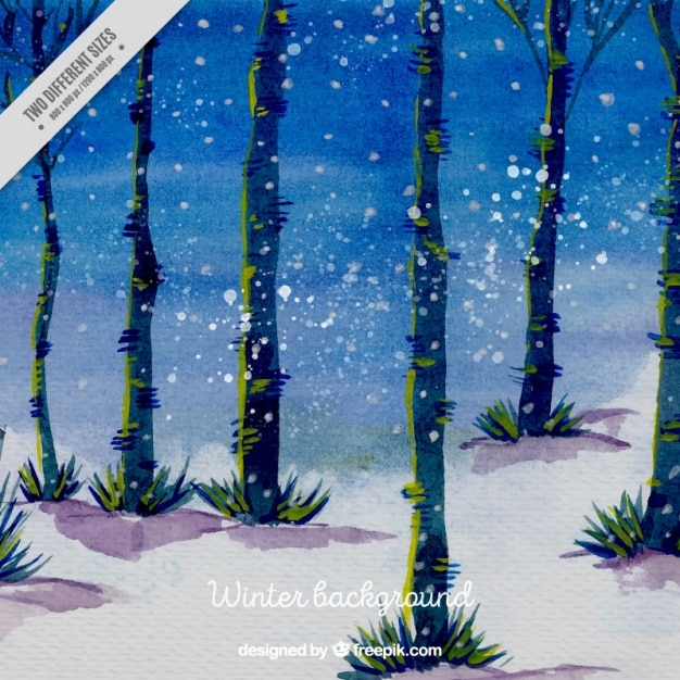 Background of watercolor forest with\ trunks