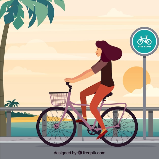 Background of woman walking with bike