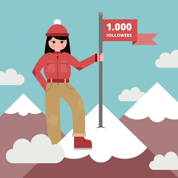 Background of woman with a banner on top of the mountain in flat design