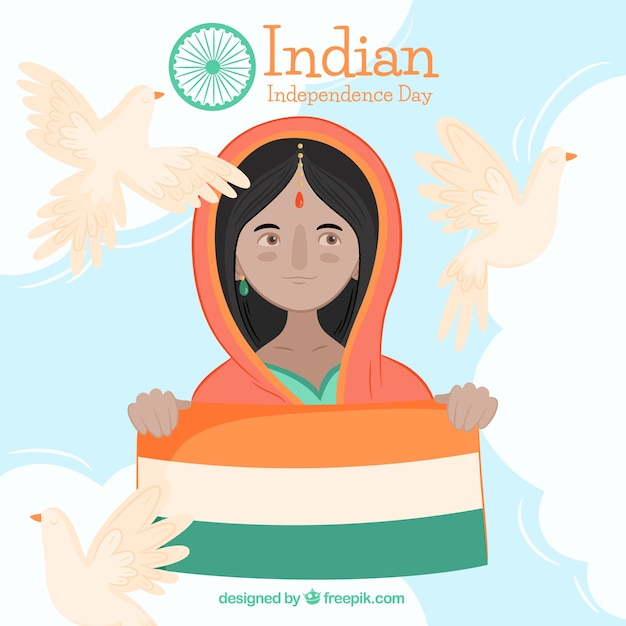 Background of woman with india flag and pigeons