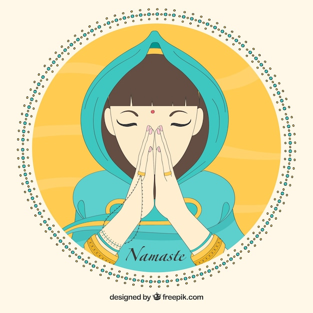 Background of woman with namaste greeting