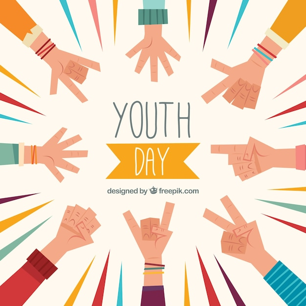 Background of youth day with hands in flat design