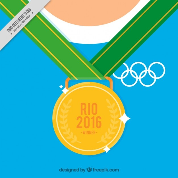 Background of olympic golden medal Free Vector